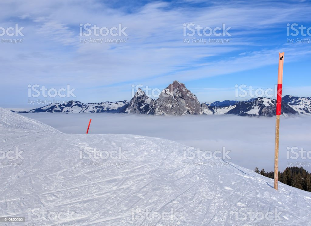 View from Mt. Fronalpstock in winter stock photo