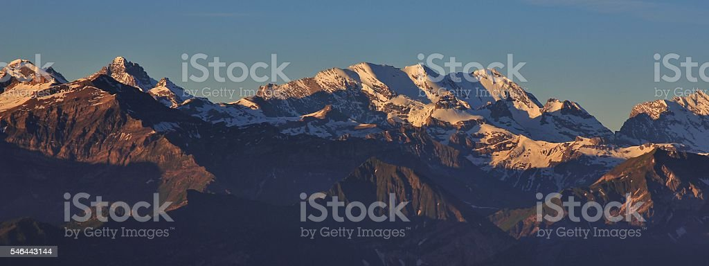 View from Mt Niederhorn, Switzerland stock photo