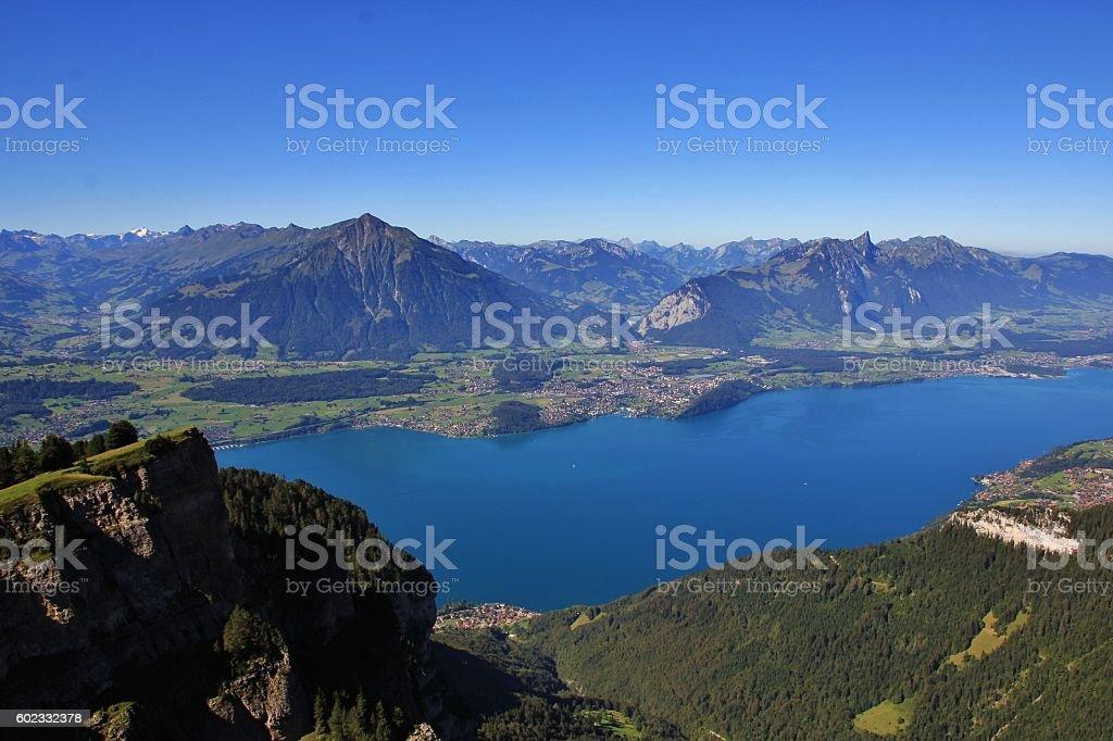 View from Mt Niederhorn towards Spiez stock photo