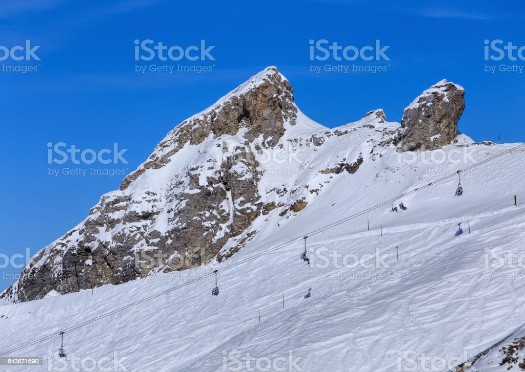 View from Mt. Titlis in Switzerland in winter stock photo