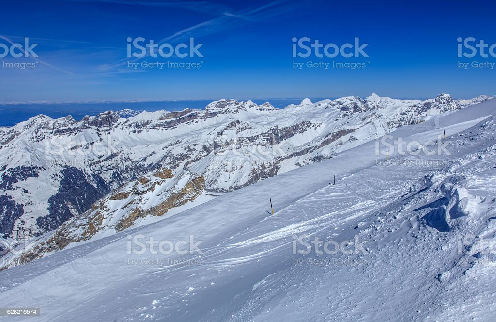 View from Mt. Titlis in Switzerland in wintertime stock photo