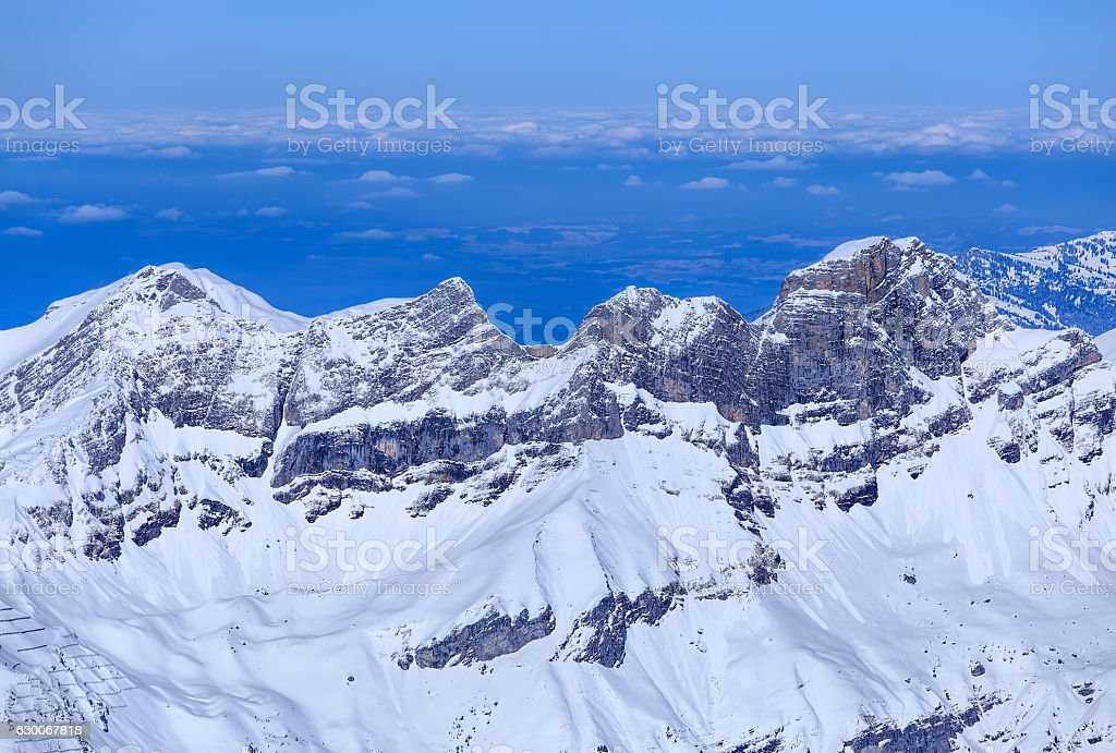 View from Mt. Titlis in the Swiss Alps in winter stock photo
