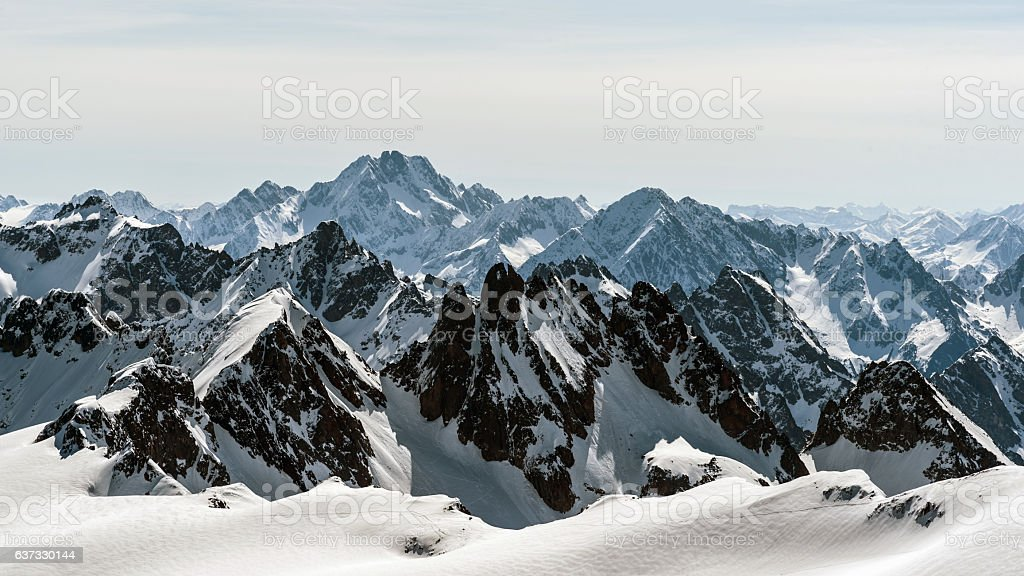 view from Mt. Titlis in winter. stock photo