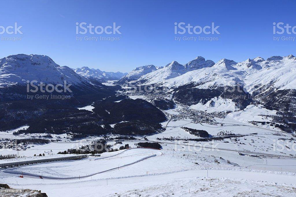 view from Muottas Muragl - Switzerland stock photo