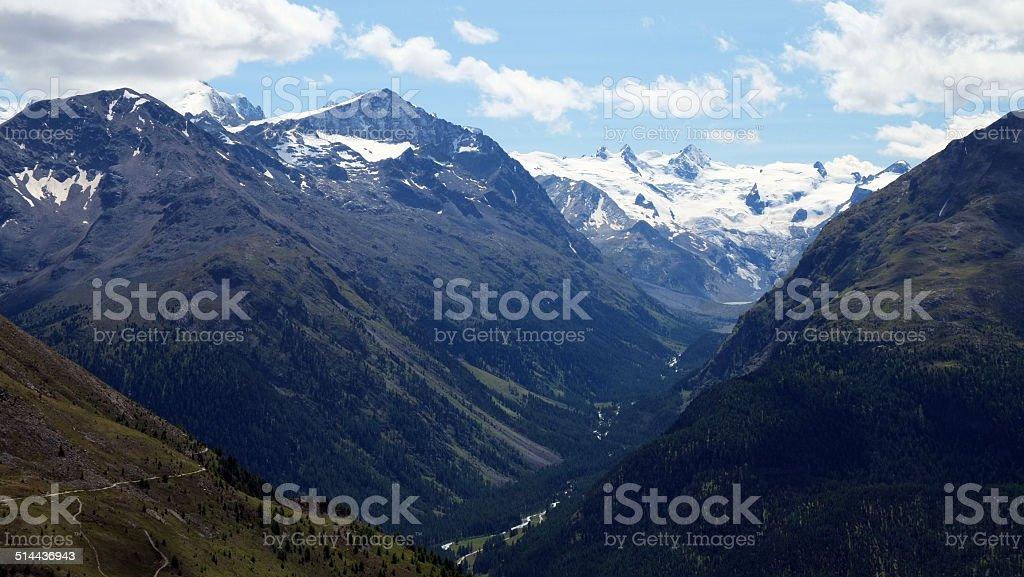View from Muottas Muragl (Engadin, Switzerland) towards Val Roseg stock photo