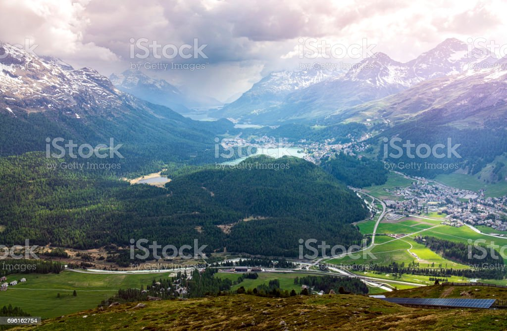 View from Muottas Muragl,Switzerland stock photo