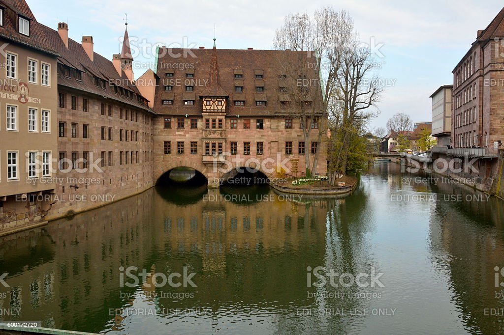 View from Museumbrucke bridge in Nuremberg stock photo