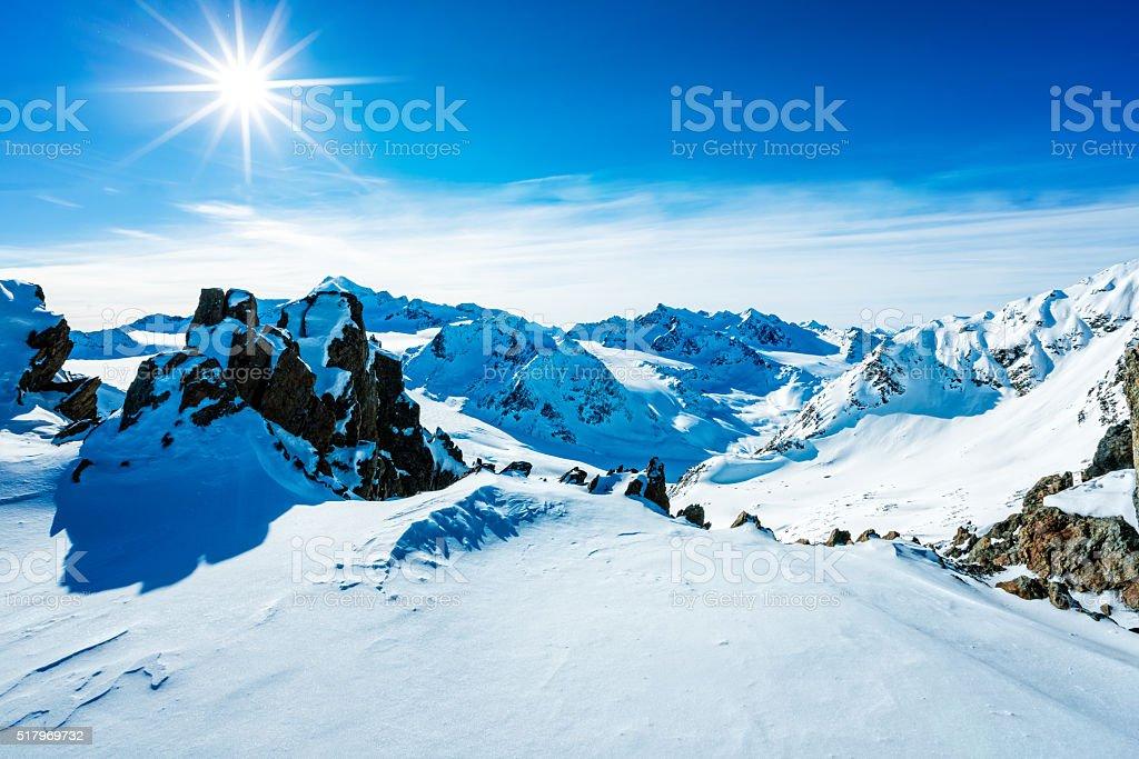 View from Mutkogel, top of  ski resort Soelden, Tirol, Austria stock photo