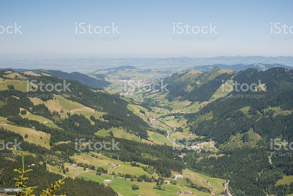 View from Mythen in direction Einsiedeln stock photo