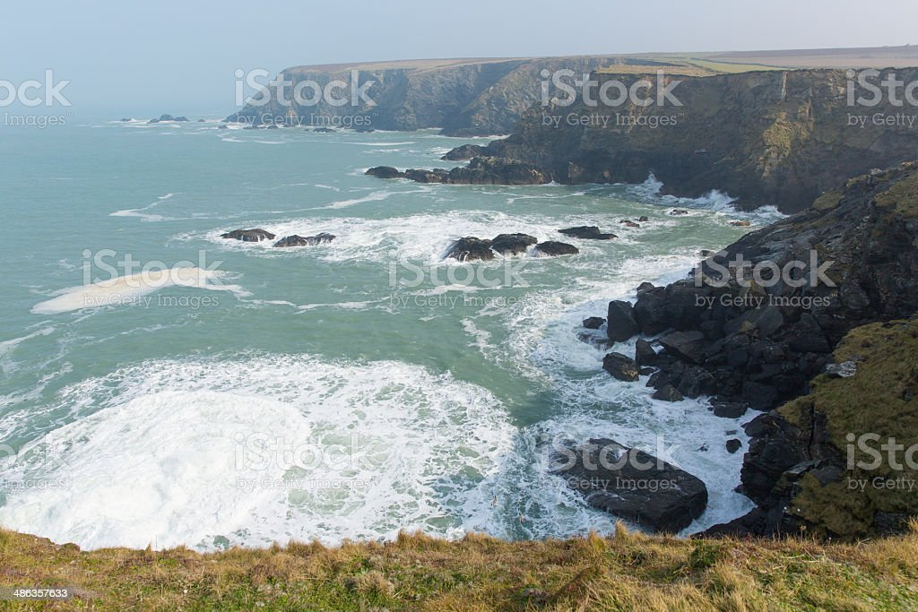 View from Navax Point near Godrevy St Ives Bay Cornwall stock photo