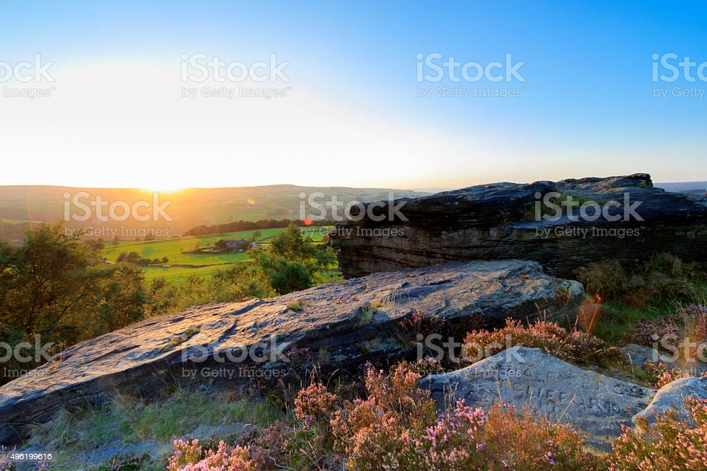 view from norland at sunset stock photo