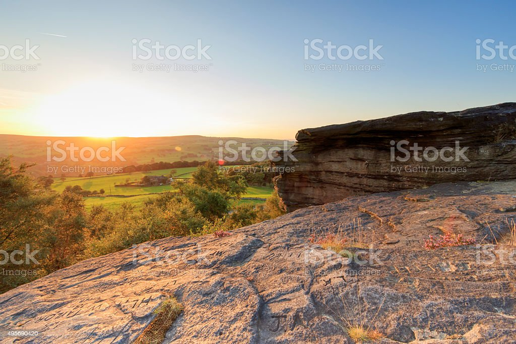 view from norland moor at sunset. Norland, Halifax stock photo