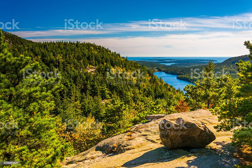 View from North Bubble, in Acadia National Park, Maine. stock photo