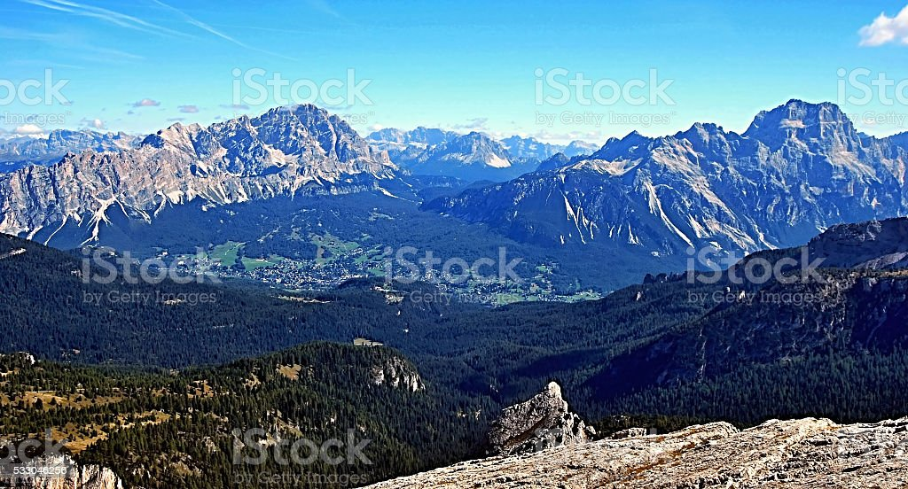 view from Nuvolau peak in Dolomites stock photo