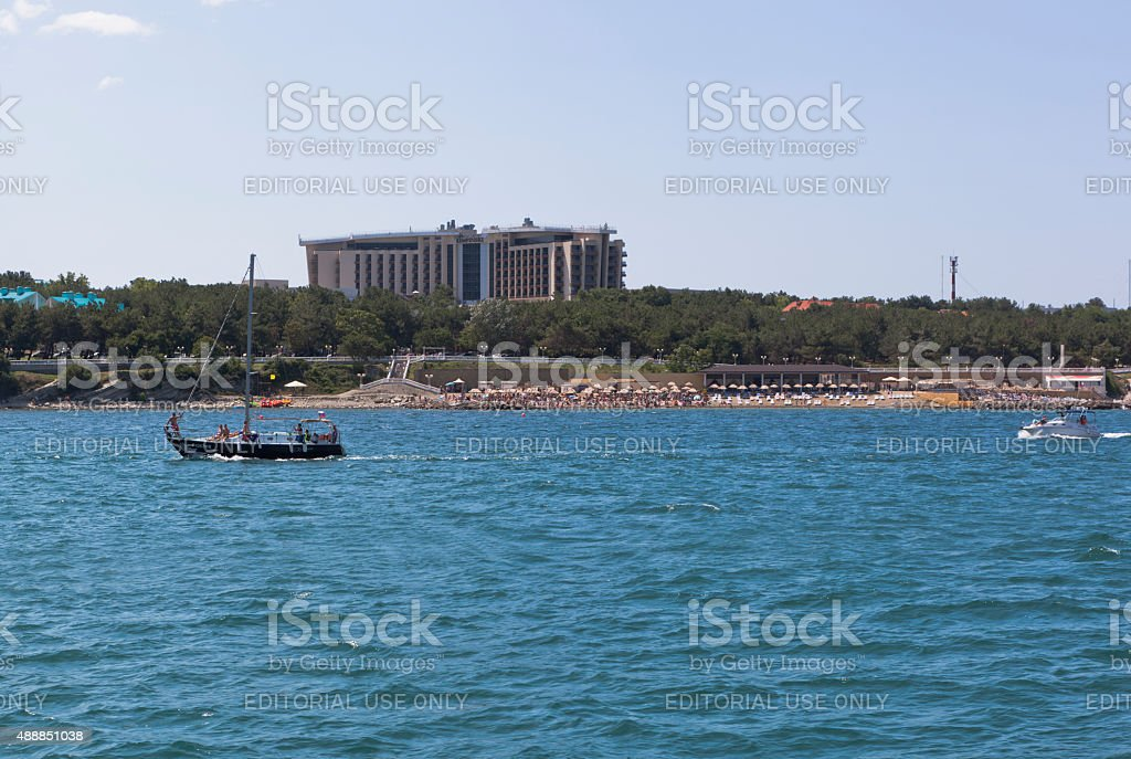 View from of the sea at the hotel 'Kempinski' stock photo