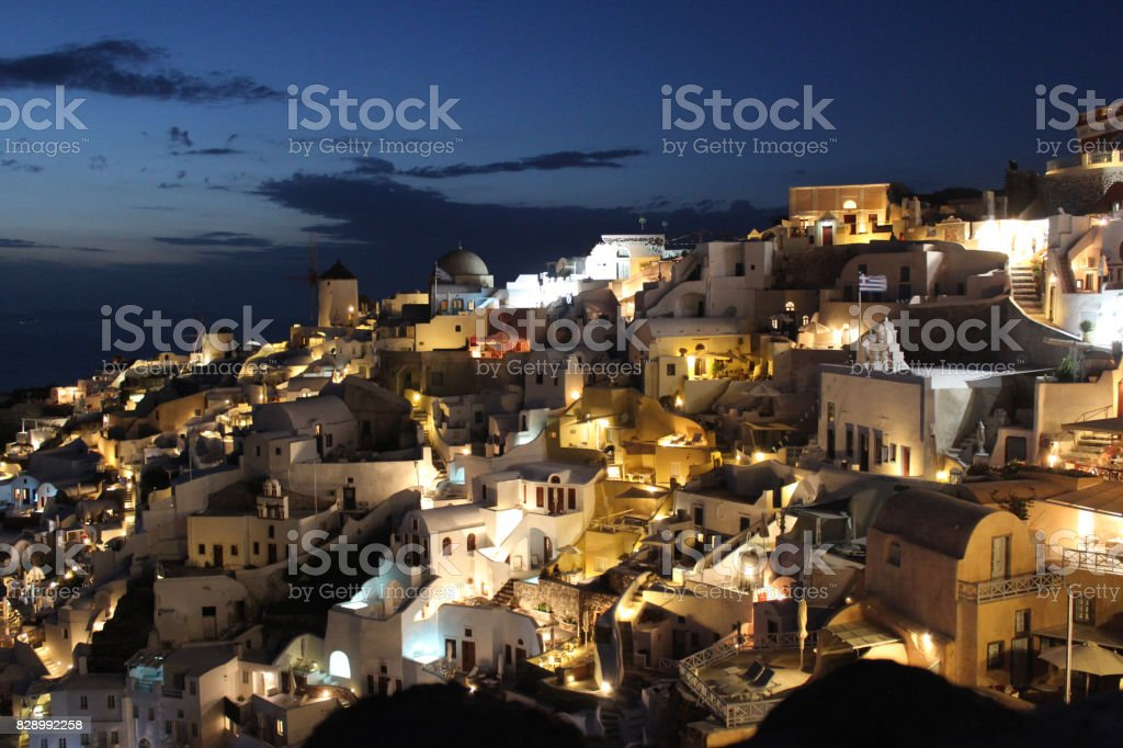 View from Oia, Santorini in Greece During the Night Time stock photo