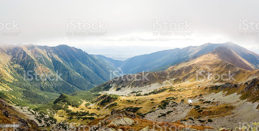 view from Ostry Rohac peak at Tatras stock photo