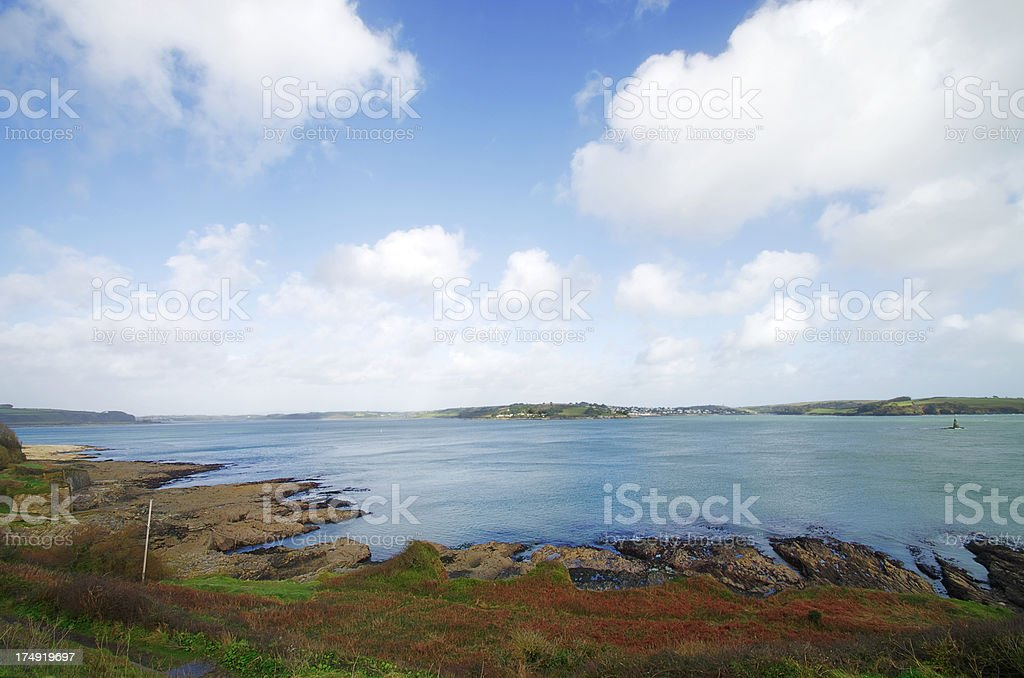 View From Pendennis Point Falmouth UK Across The Fal stock photo