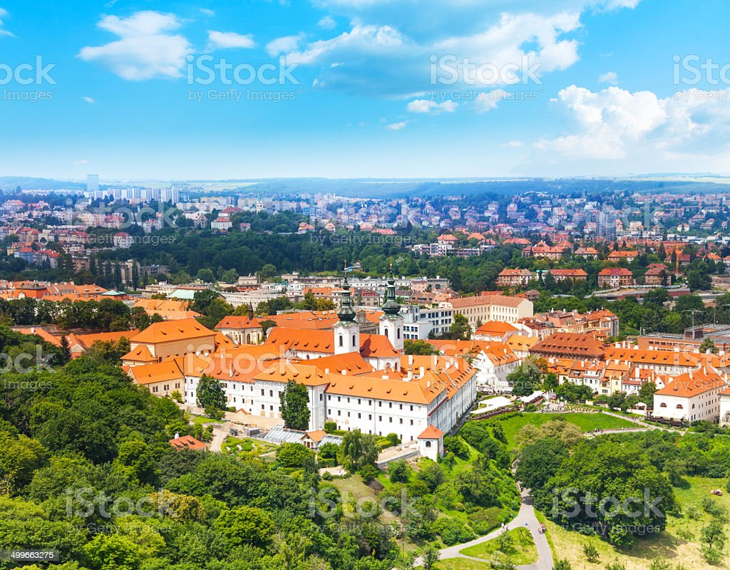 View from Petrin Tower on Strahov Monastery stock photo