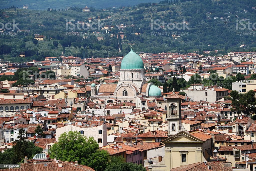 View from Piazzale Michelangelo to Great Synagogue of Florence, Italy stock photo