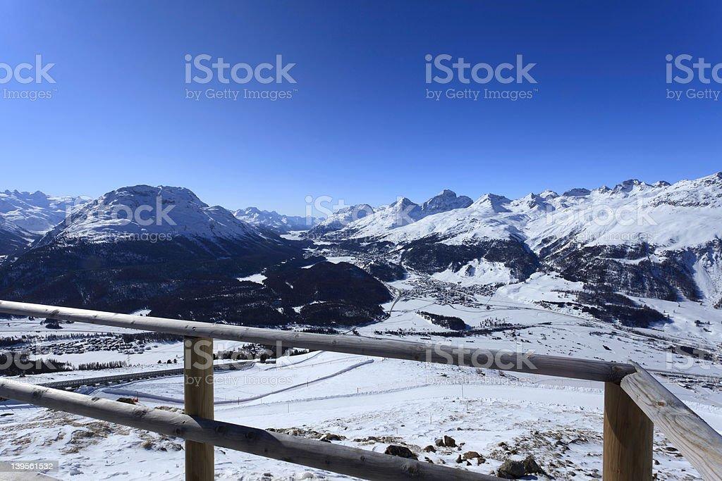 view from Piz Muottas Muragl - Switzerland stock photo