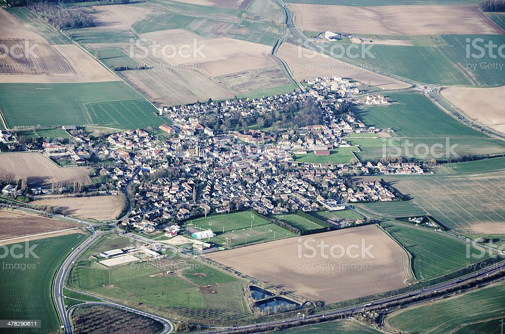View from  plane on a spring fields royalty-free stock photo