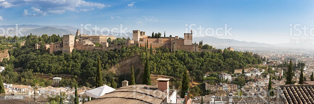 View from Plaza San Nicolás to Alhambra, Granada, Spain stock photo