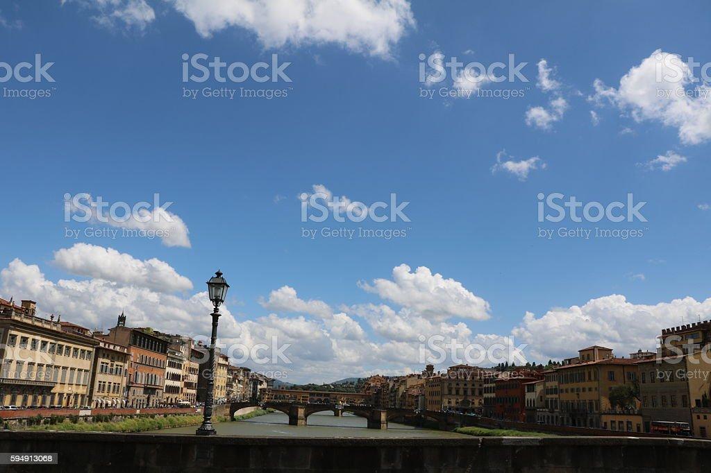 View from Ponte alla Carraia to Ponte Santa Trinita, Florence stock photo