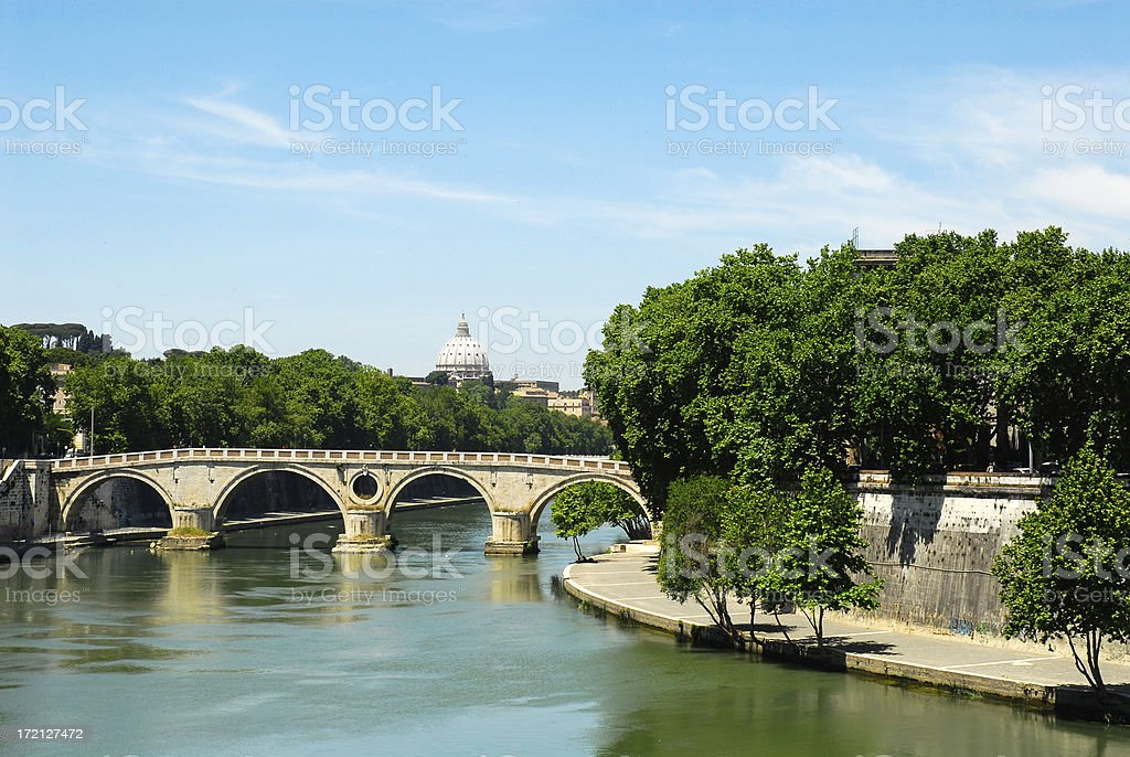 View from Ponte Garibaldi, Rome stock photo