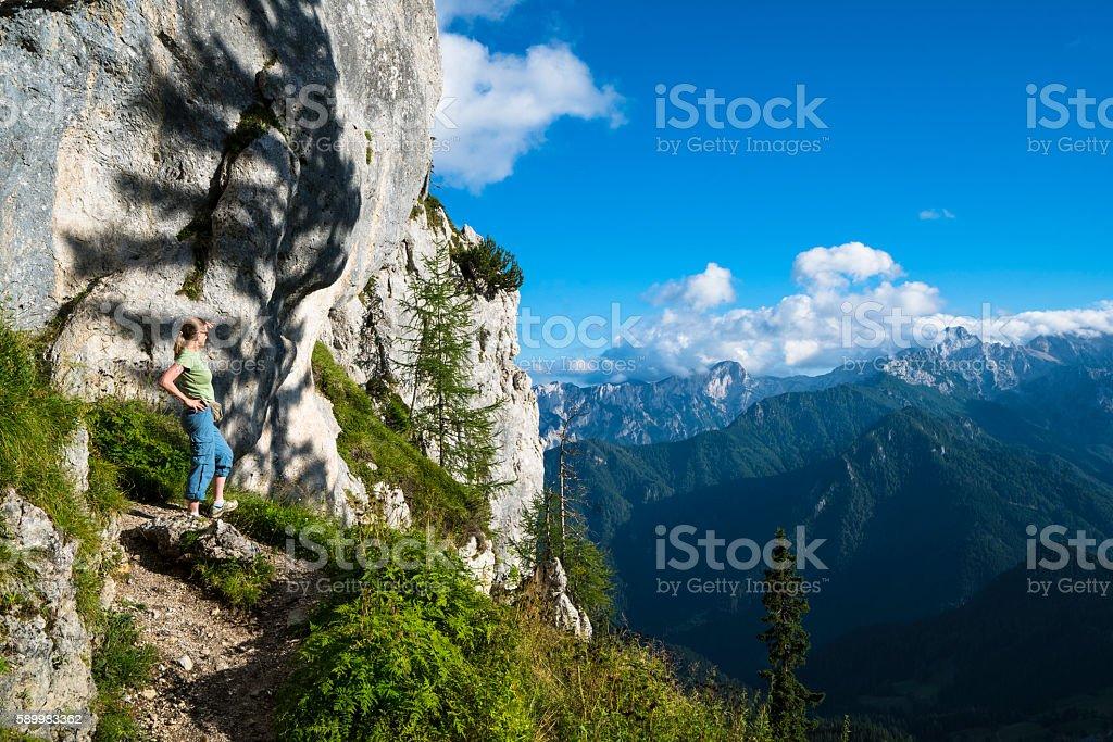 View from Potocna Zijavka Cave in beautiful Logar Valley, Slovenia stock photo
