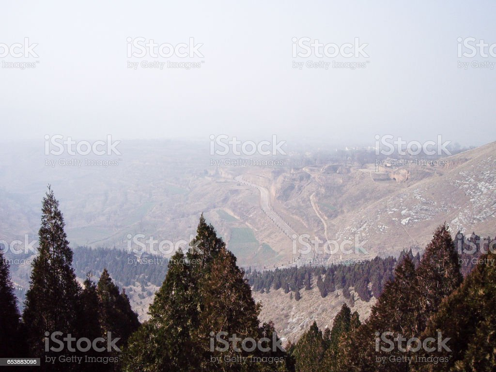 View from Qianling Mausoleum - Mausoleum of Emperor Gaozong and Wu Zetian in Tang dynasty, Xian, China stock photo