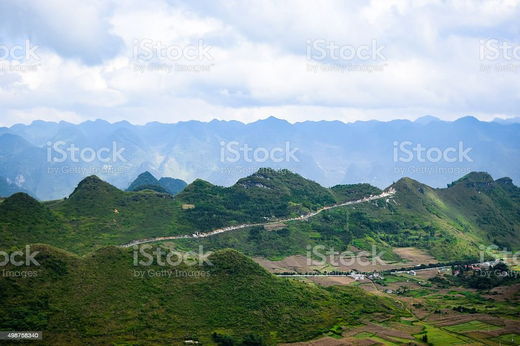 View from Quan Ba Sky gate, Ha Giang province, Vietnam stock photo