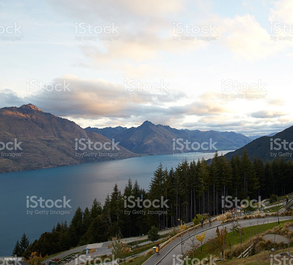 View from Queenstown Hill, New Zealand stock photo
