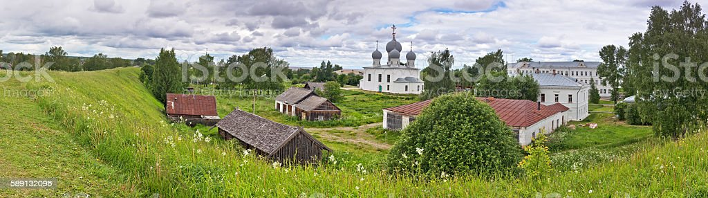 View from ramparts of temple and Church in Belozersk. stock photo