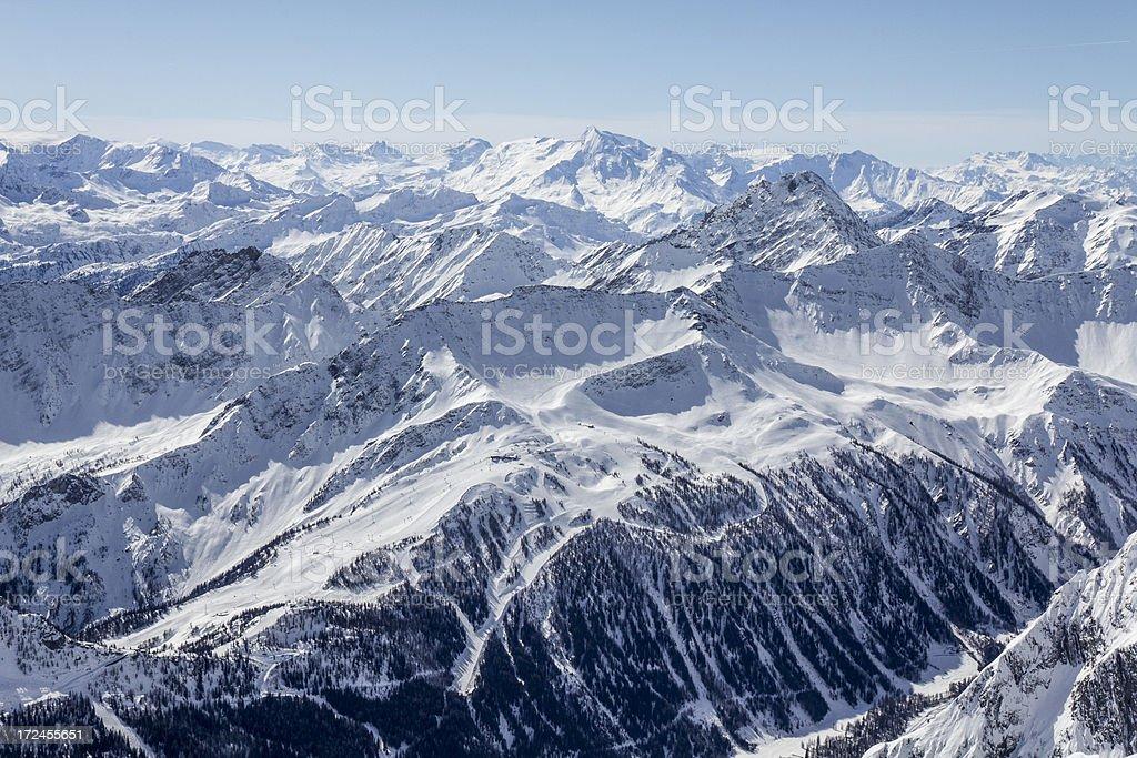 View from rifugio Torino in the Mont Blanc massif stock photo