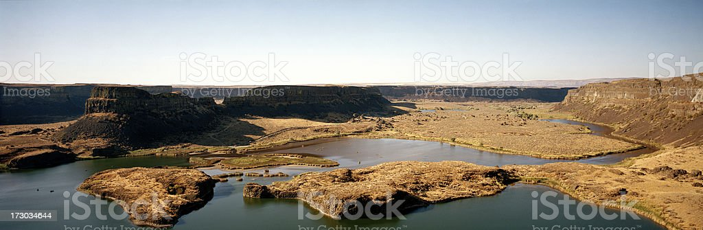 View from Rim of Dry Falls at Grand Coulee, Washington stock photo