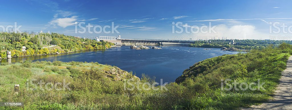 View from river island to Hydroelectric Station stock photo