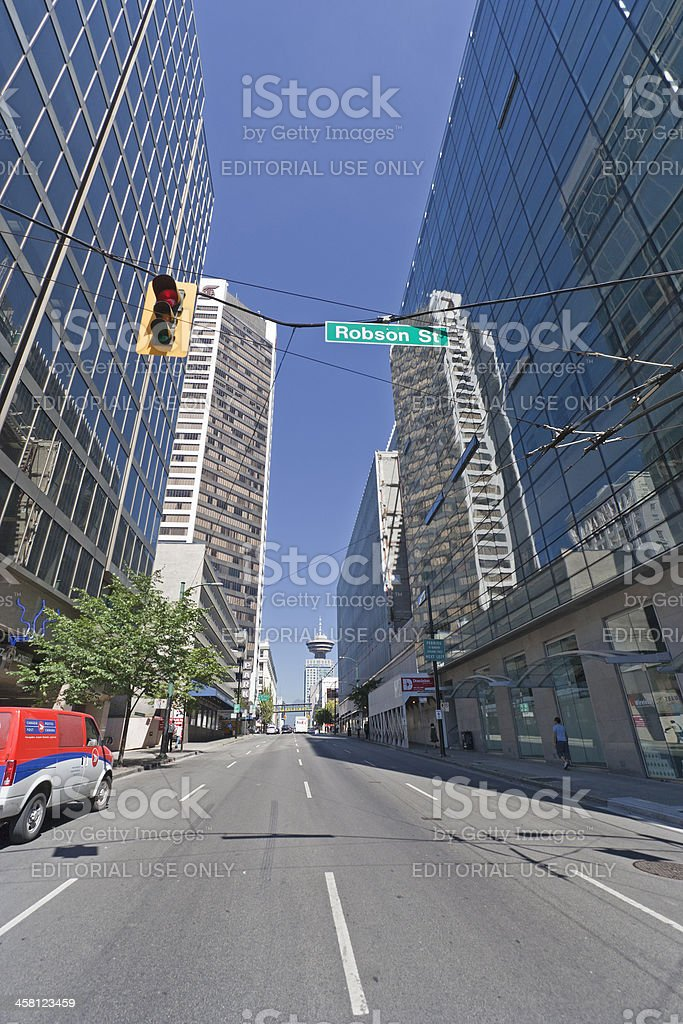 View from Robson into Seymour Street in Vancouver, Canada royalty-free stock photo