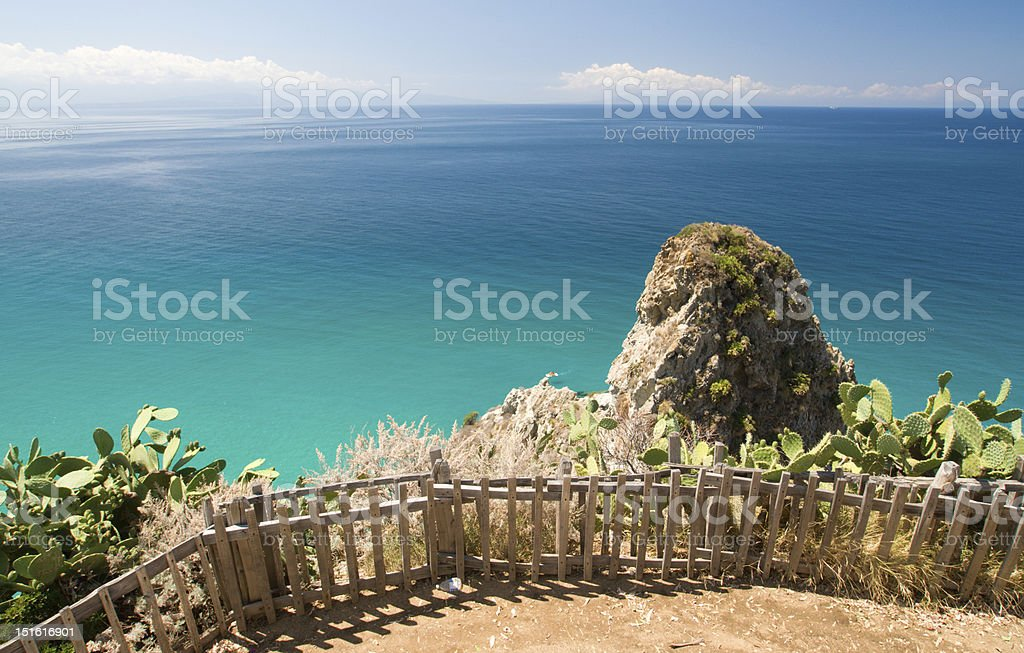 View from rock in Capo Vaticano stock photo