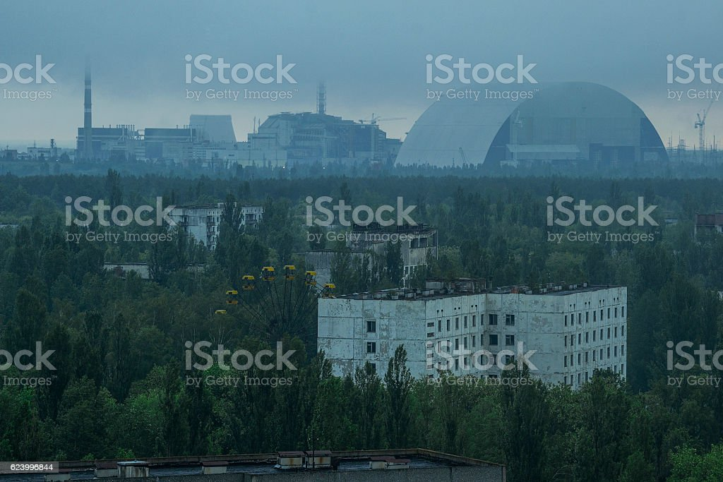 view from roof of 16-storied apartment house in Pripyat town, stock photo