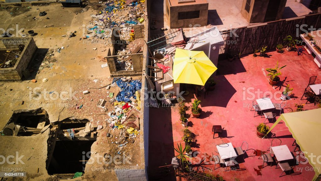 view from rooftop in Morocco, division between rich and poor stock photo