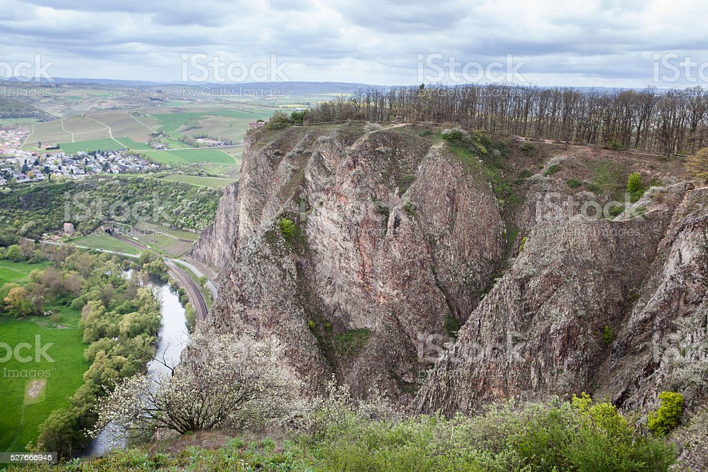 View from Rotenfels - River Nahe and Norheim stock photo