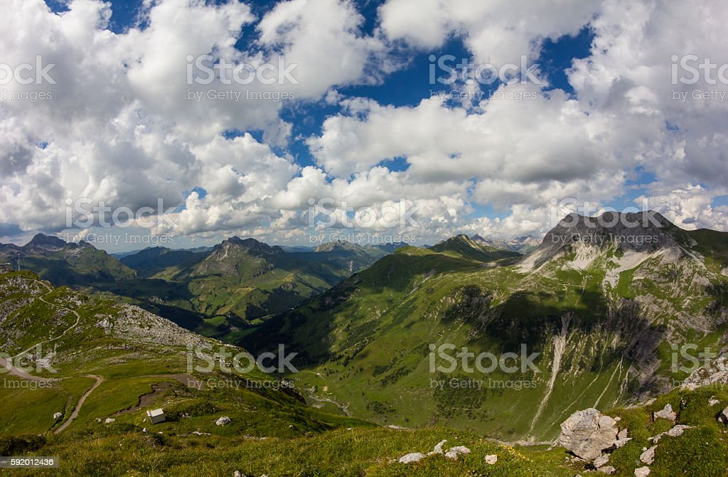 View From Ruefikopf 2.350m In Vorarlberg Austria stock photo