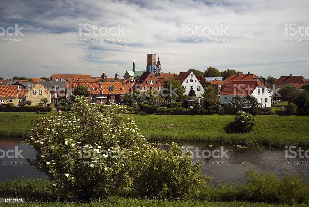 View from ruined castle hill over Ribe stock photo
