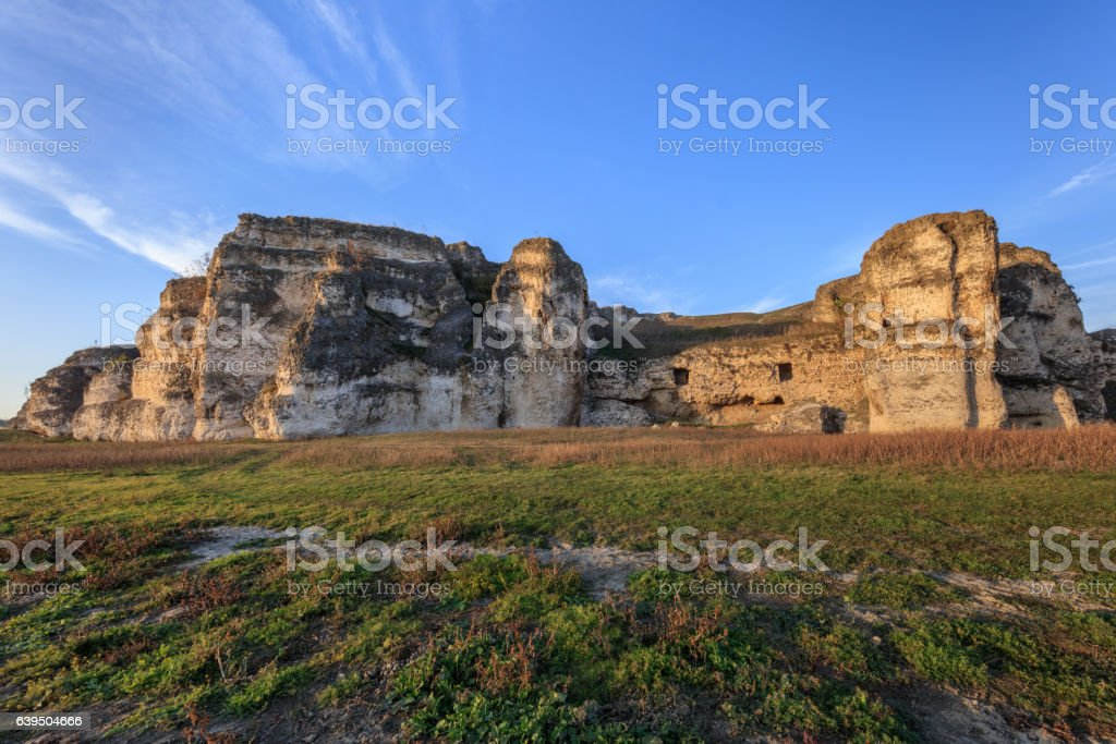 view from ruins of Carsium old city, Harsova, Romania. stock photo