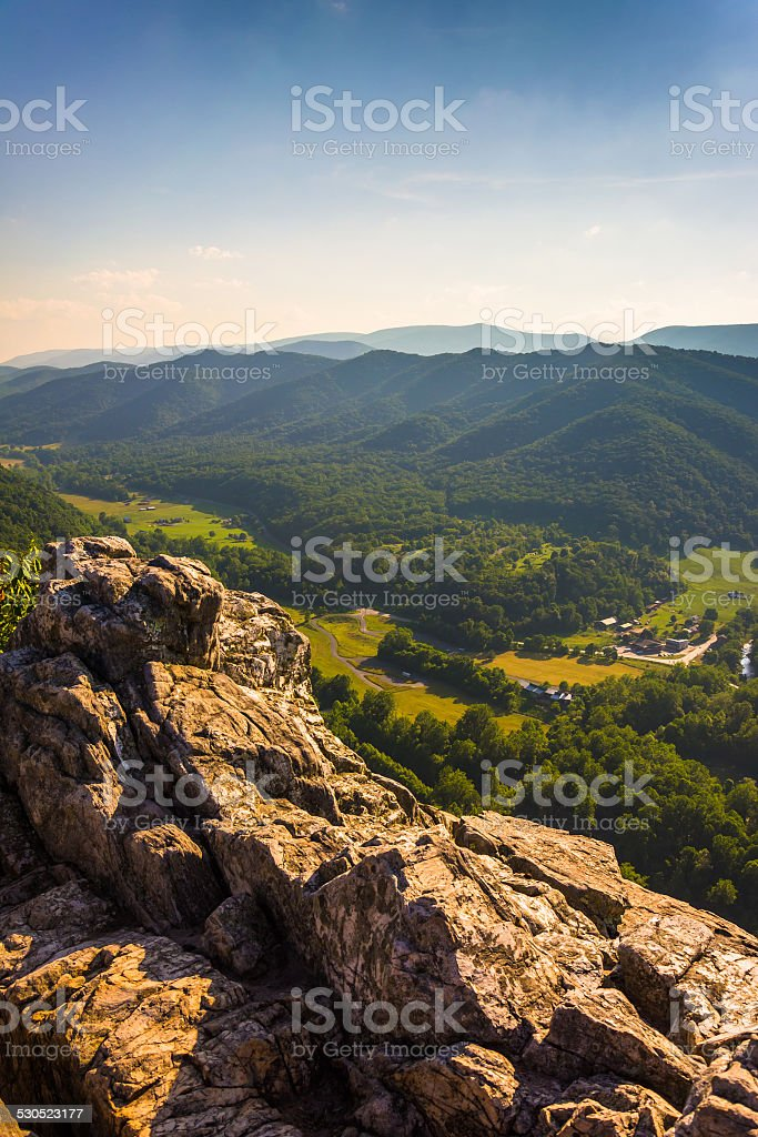 View from Seneca Rocks, Monongahela National Forest, West Virgin stock photo