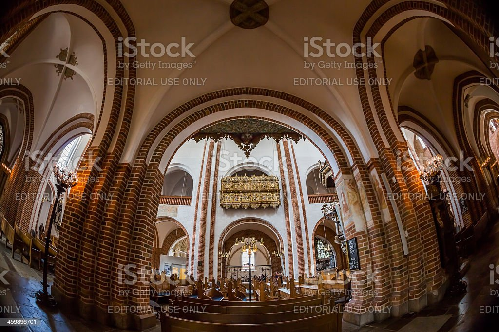 View from side aisle to main ship of Roskilde cathedral stock photo