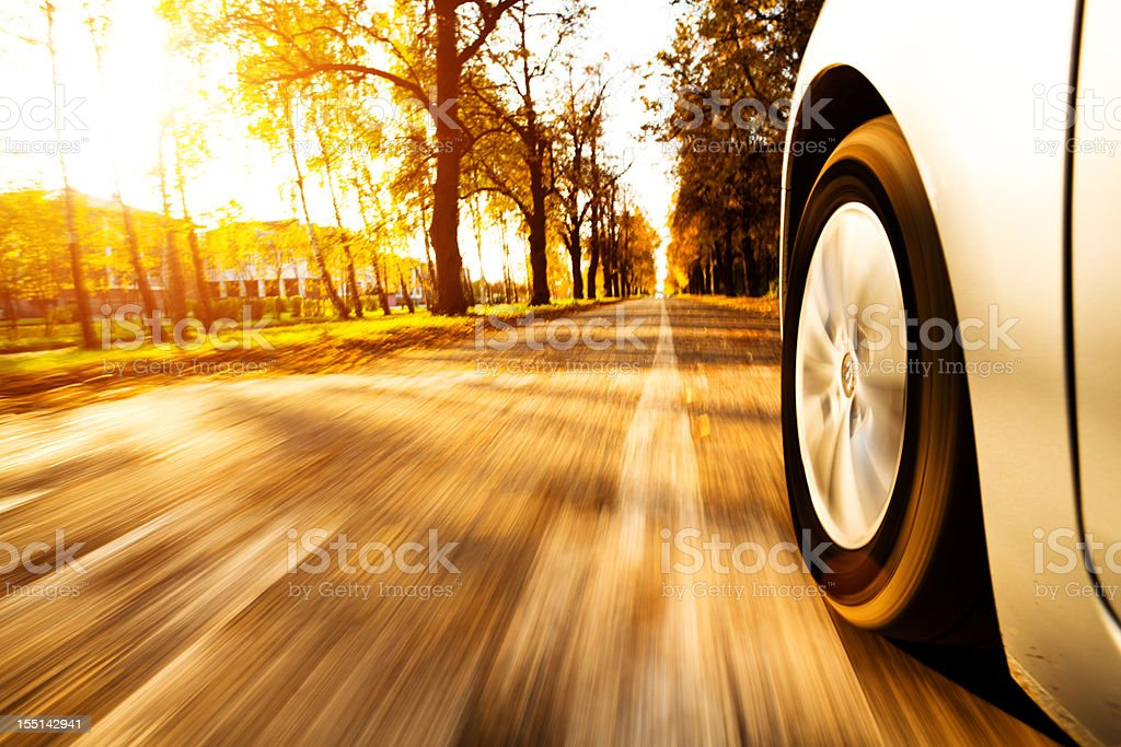 view from side of fast moving car stock photo
