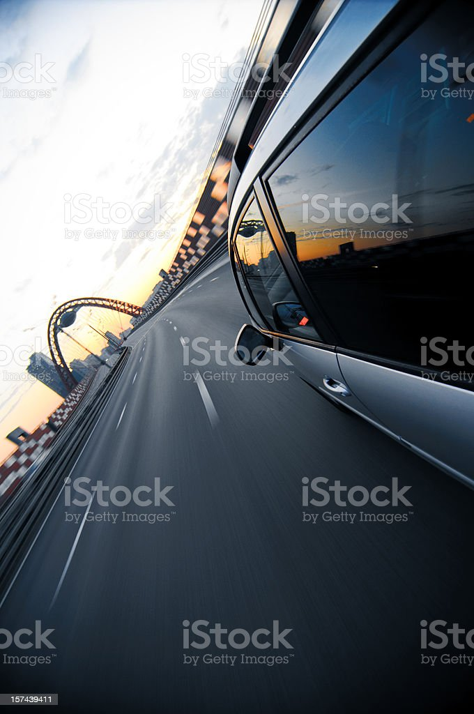 view from side of fast moving car royalty-free stock photo