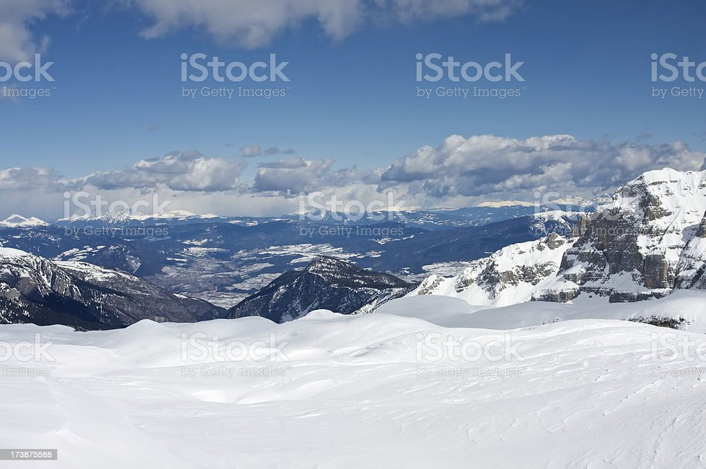 View from slope on Dimaro stock photo